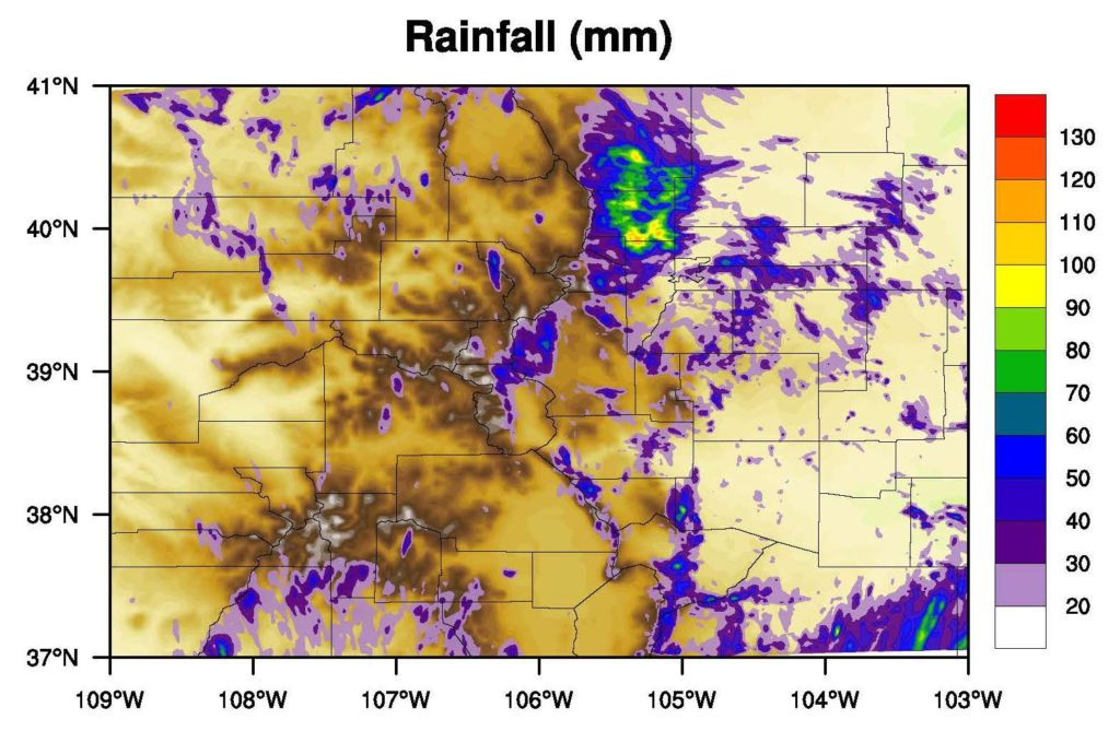 Regional climate model simulation of rainfall from the September 2013 Front Range storms.