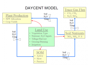 Figure 1 The flow diagram of the DAYCENT model. Figure is from presentation by Dr. Dennis Ojima.